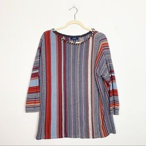 Chaps Striped Leather Trimmed Sweater Size Large